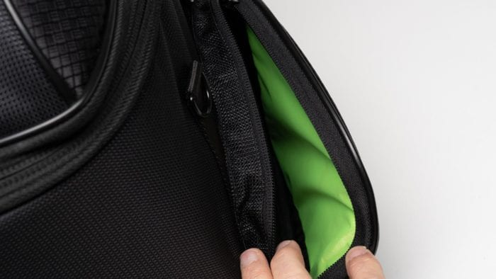 Close up view of the open side pockets