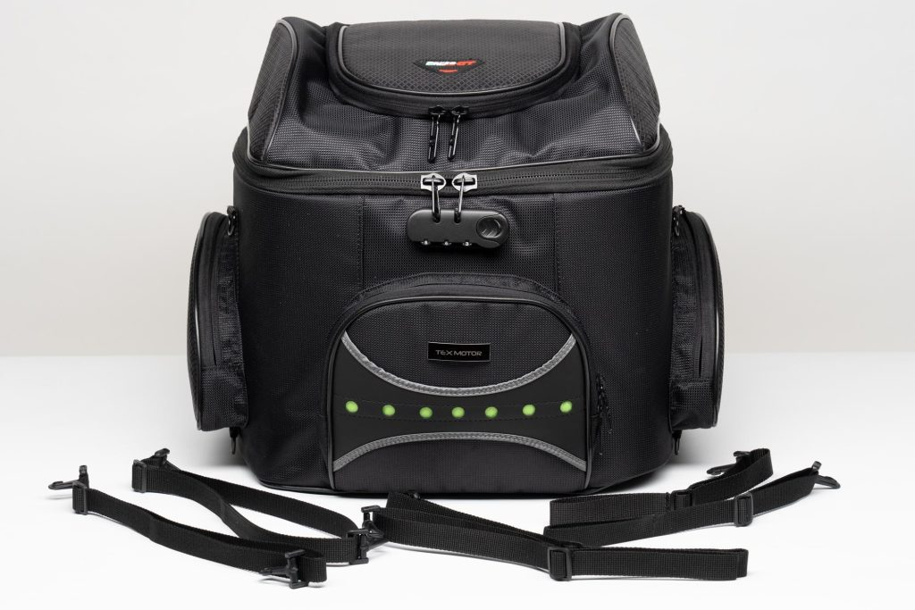 Front view of 70025 bag with included attachment straps.