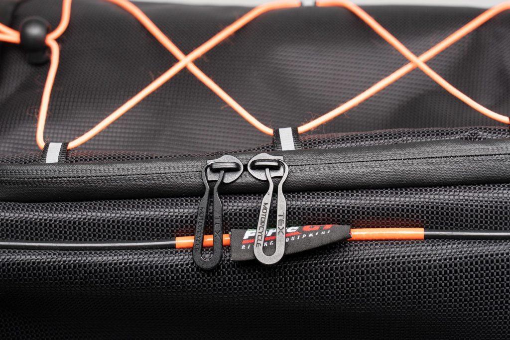 Close up of the 70086 Sentor bag zippers