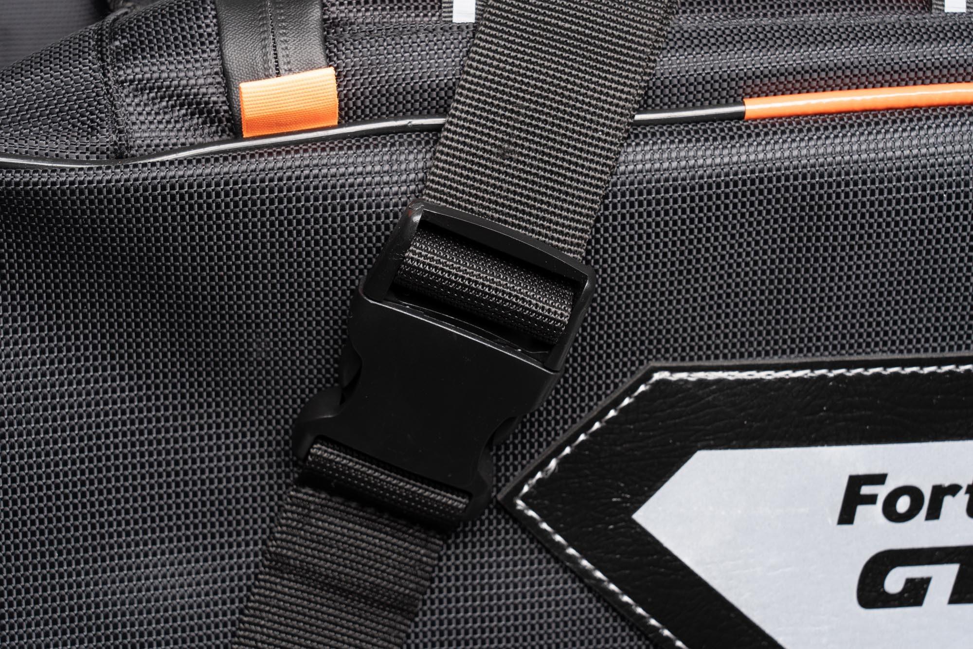 Closeup of 70086 Sentor bag strap buckles