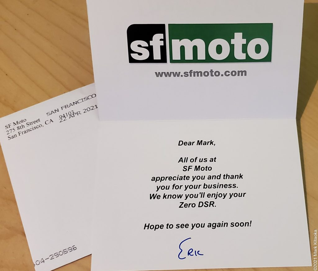 Thank you card from SF Moto