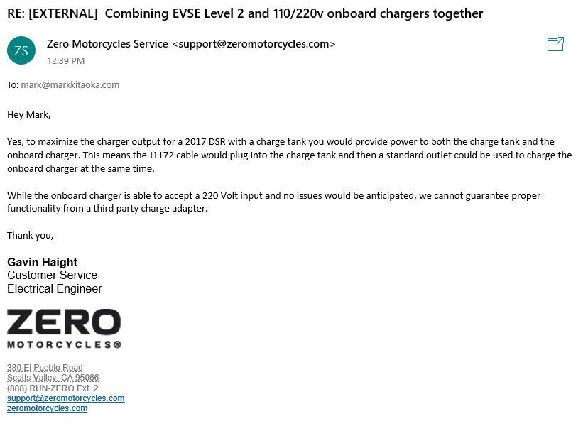 Email correspondence with Zero Motorcycles team