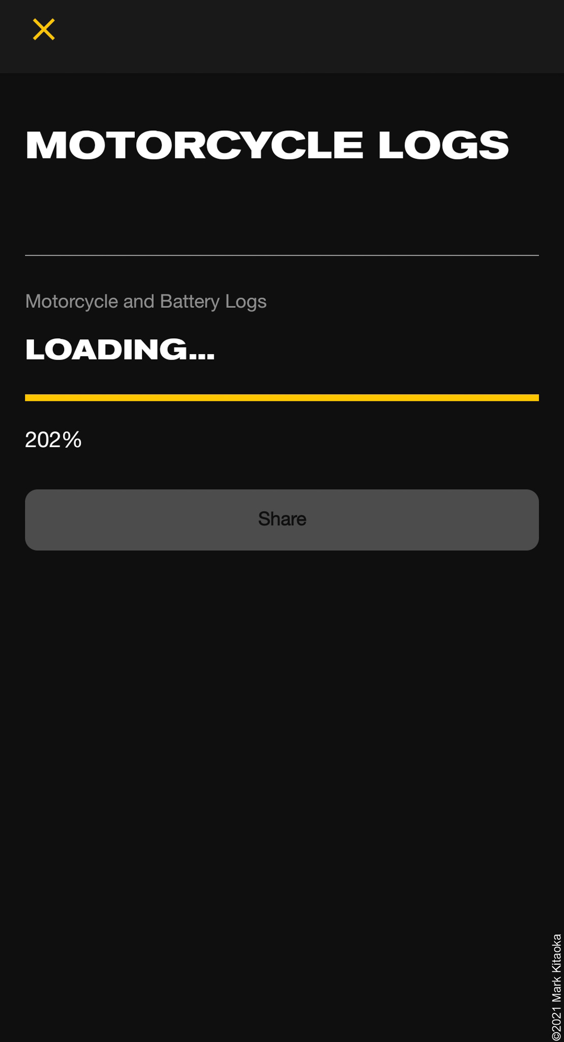 Zero smartphone app showing 202% on Motorcycle logs