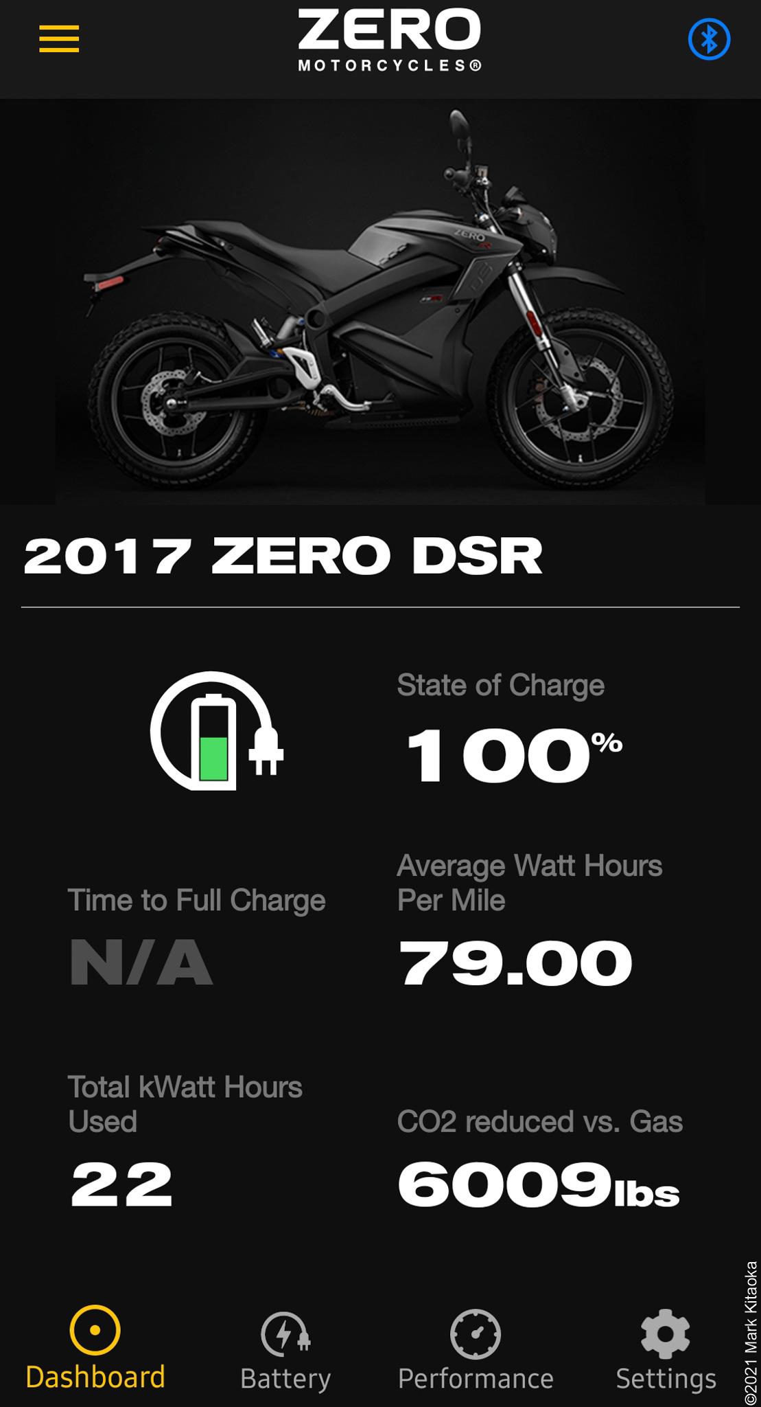 Zero phone app showing battery indicator