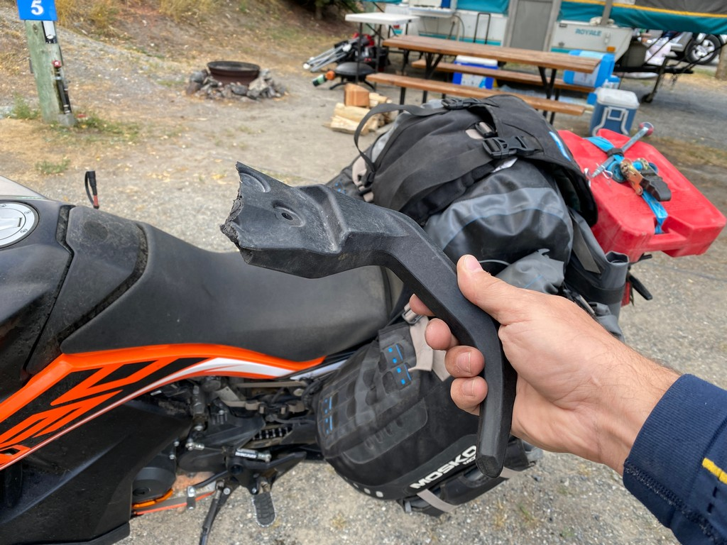 I broke the right side grab handle off my KTM 790 adventure after dropping it and picking it up about 10 times.