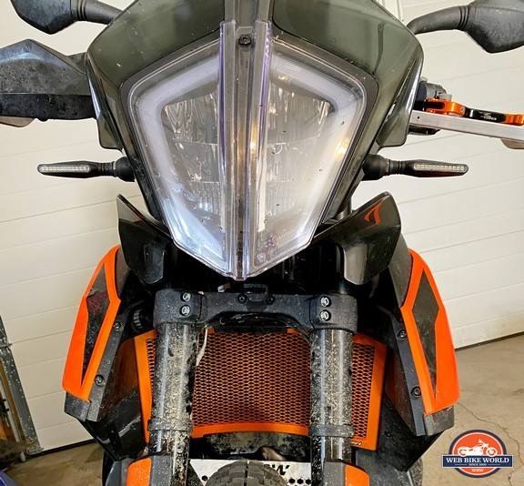 This orange Rad Guard radiator protector has been a satisfying addition to my KTM 790 Adventure.