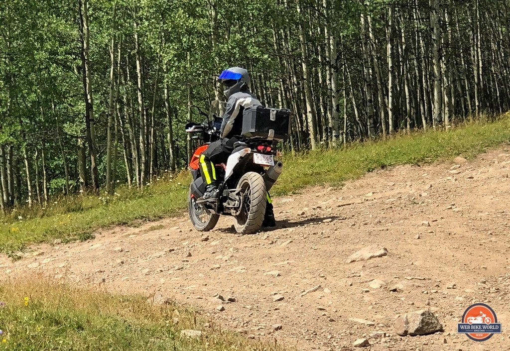 Me riding off-road with the stock Avon Trailrider tires of the KTM 790 Adventure.