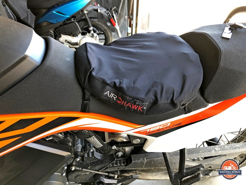 I put an Airhawk inflatable seat cover on my 2019 KTM 790 Adventure to be more comfortable on long rides.
