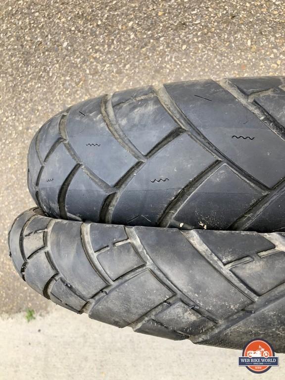 The stock Avon AV53/AV54 Trailrider Tires that come factory equipped on the KTM 790 Adventure.