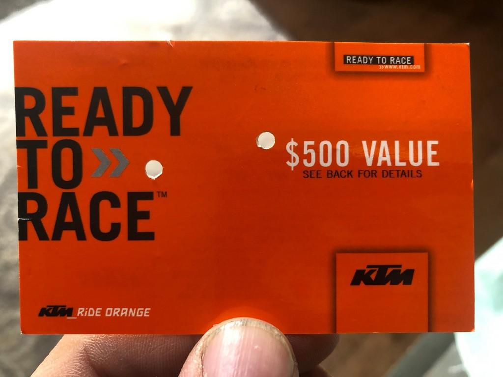KTM gift card.