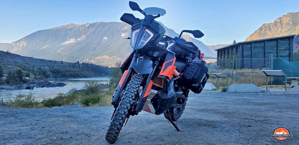 A 2019 KTM 790 Adventure S with R plastics on it and a custom windshield.