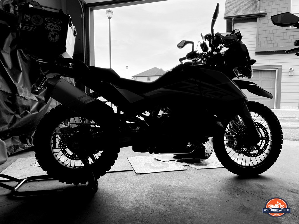 A silhouetted KTM 790 adventure.