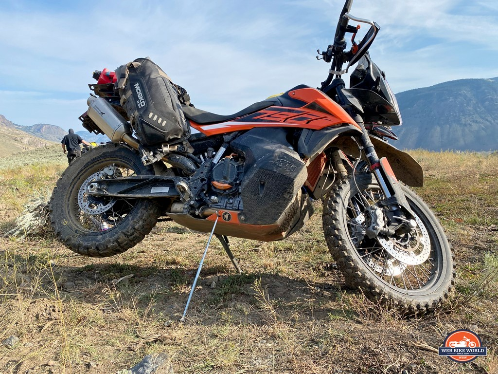 The BDCW trailstand in use with their ultimate skidplate on a KTM 790 adventure.