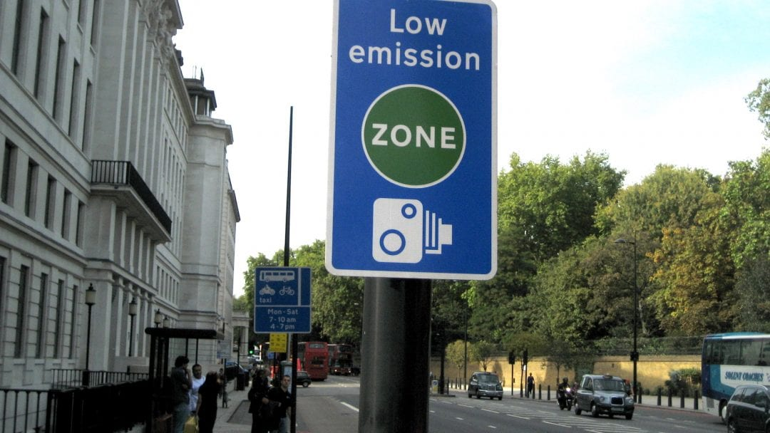 a low emissions sign