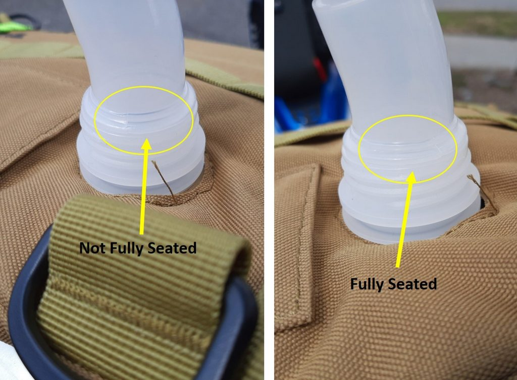 Comparison of sealed and unsealed nozzle seating