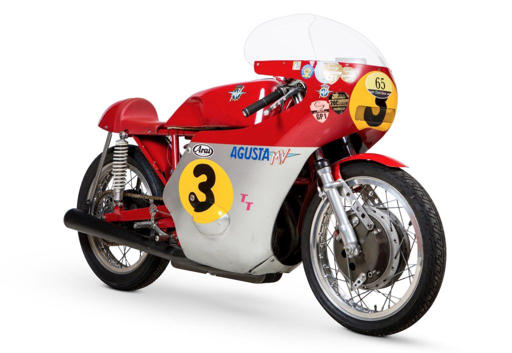 1966 MV Agusta 500cc Three Cylinder Front and Side View