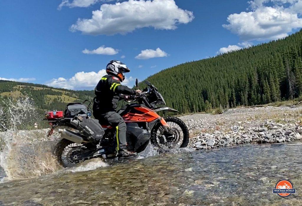A KTM 790 adventure crossing water like a boss.