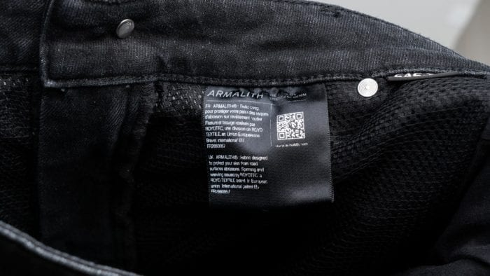 Armalith tag on the inside of jeans