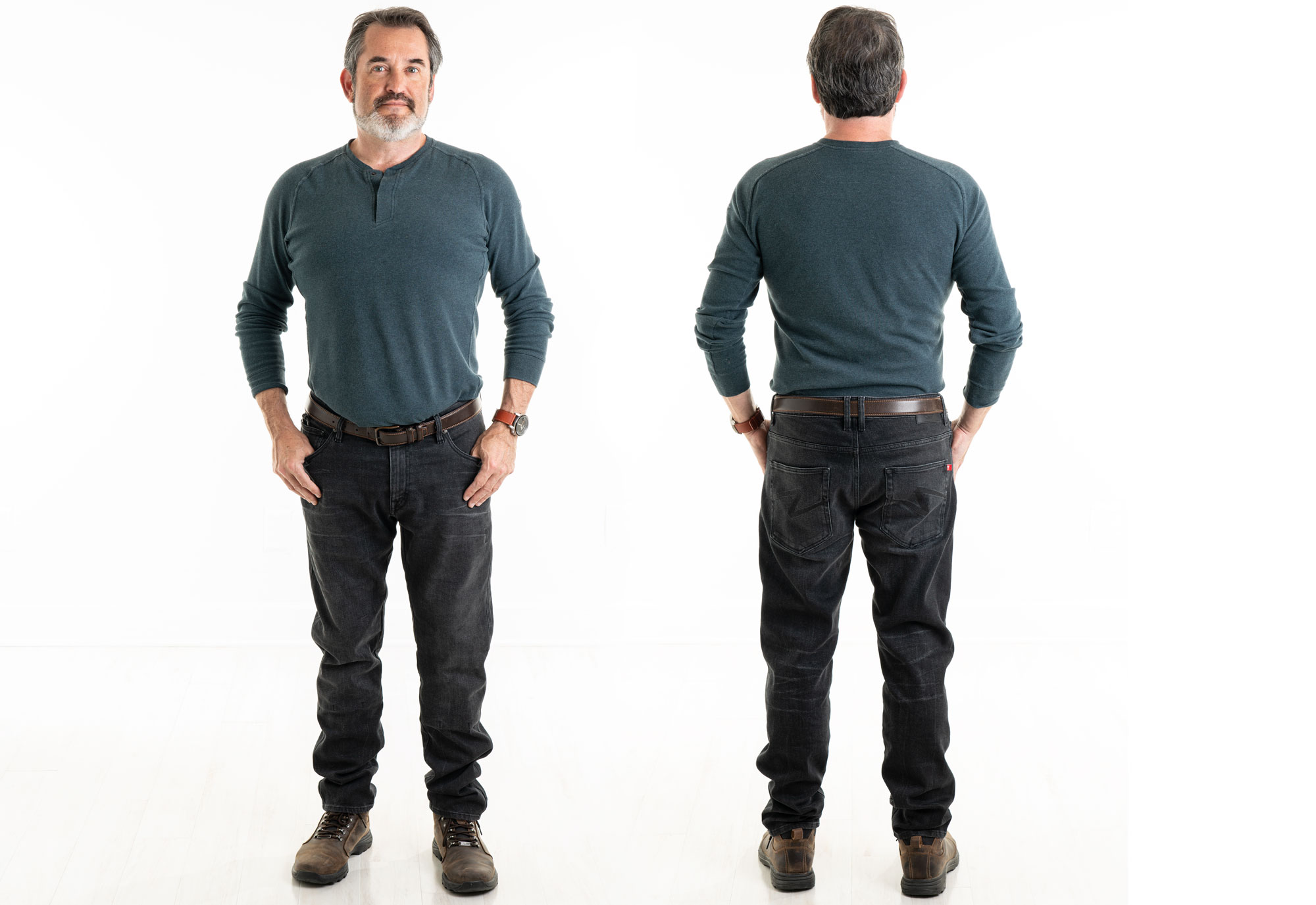 Front and rear view of the Robby Arm jeans