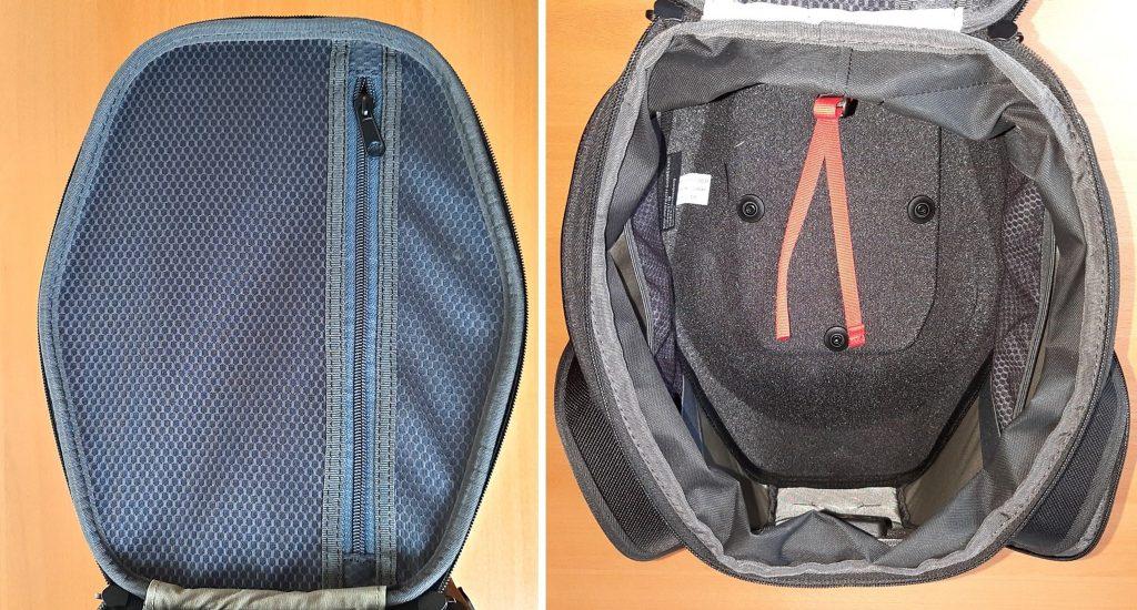 Top down shot of SW Motech bag with zipper open