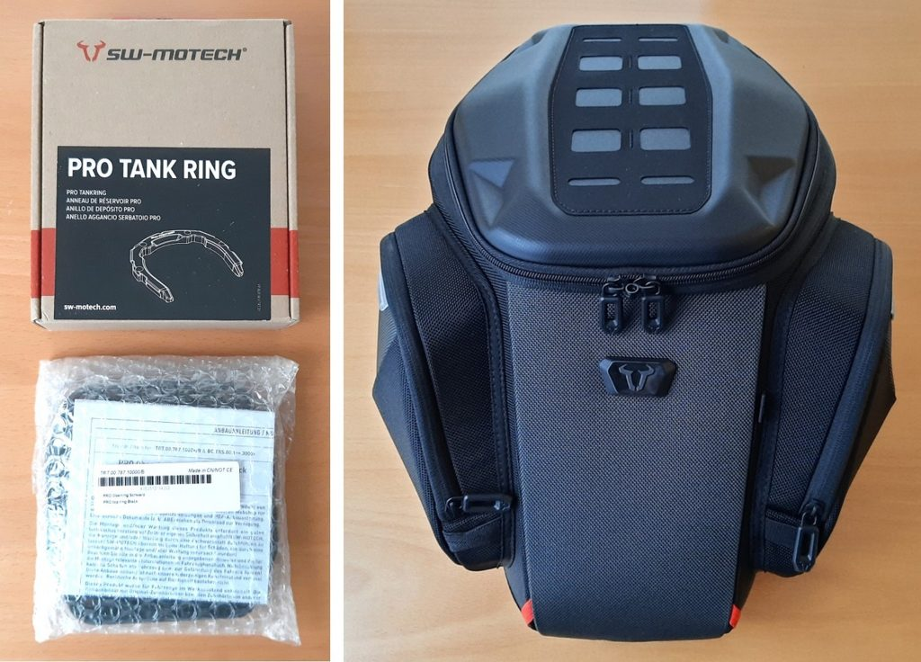 Pro tank ring and GS tank bag side by side