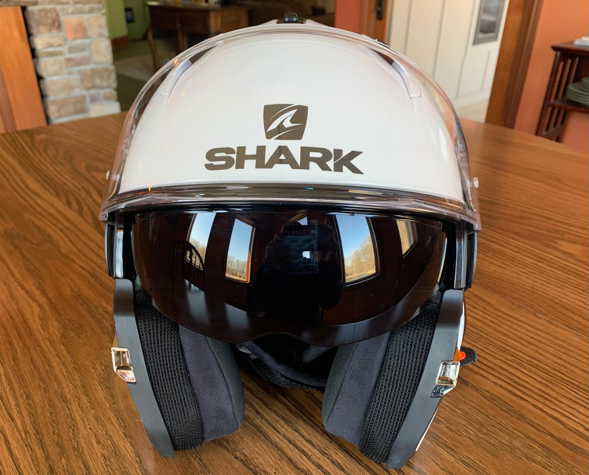 Sun shield on Shark helmet