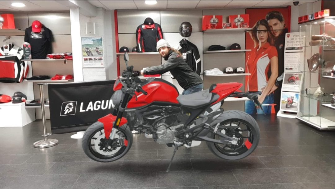 A client making use of the new Ducati Augmented Reality Mobile App