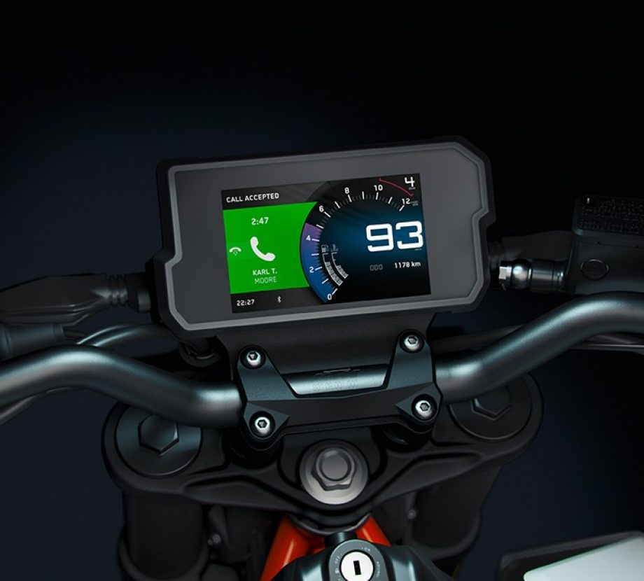 The KTM My Ride app displaying in incoming phone call on the 790 adventure dash display.