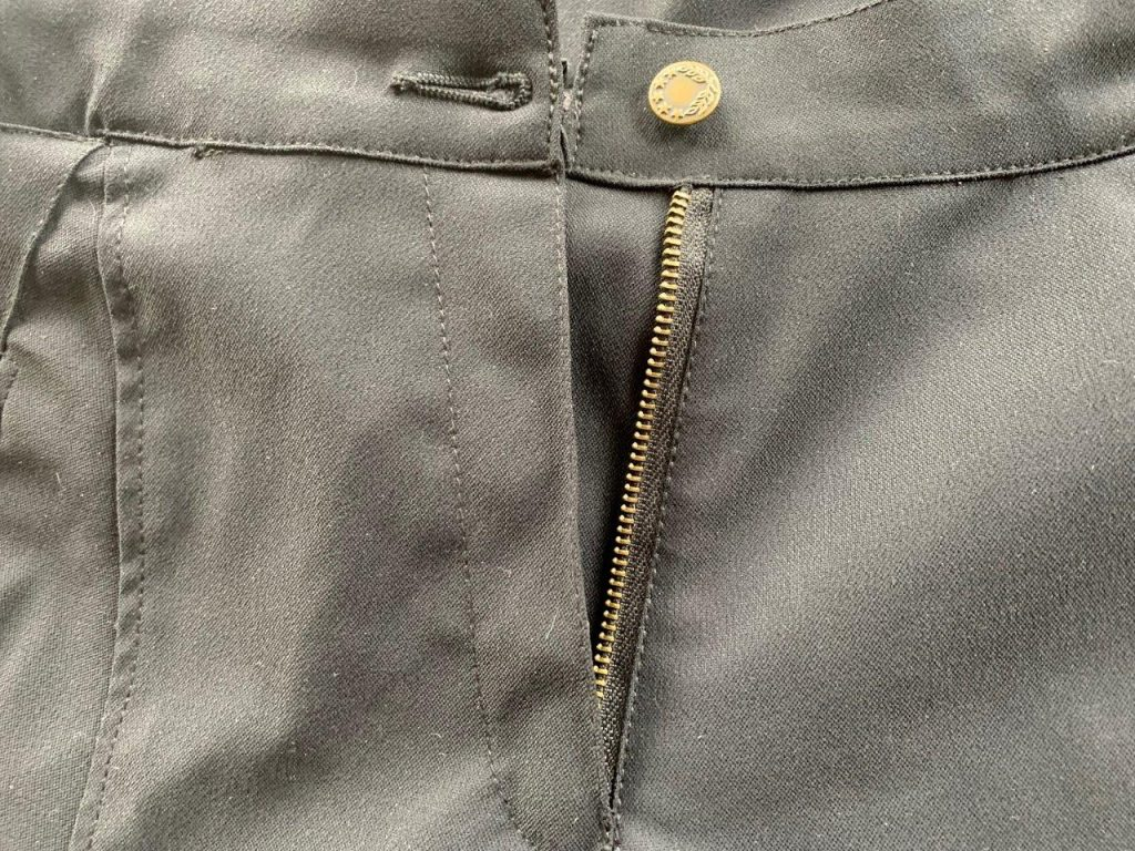 front zipper and button