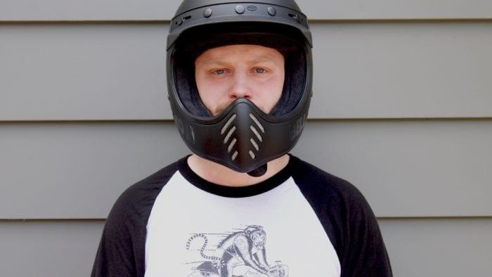 Wade Thiel wearing Bell Moto-3 Helmet front view