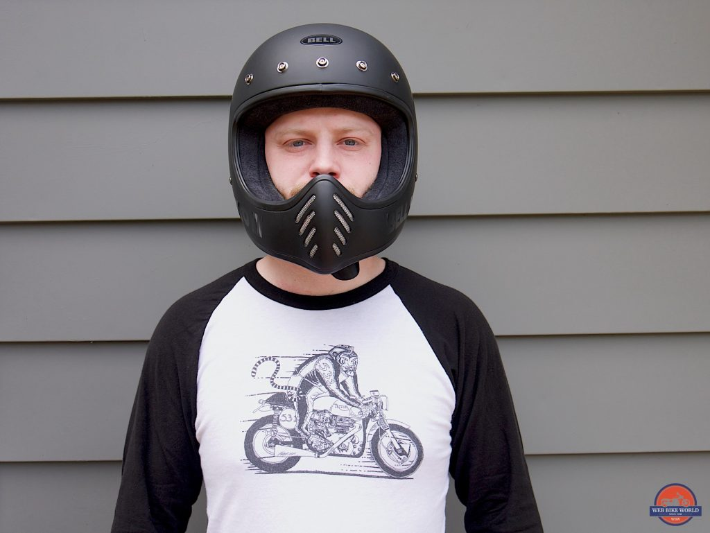 Wade Thiel wearing Bell Moto-3 Helmet front view, no visor