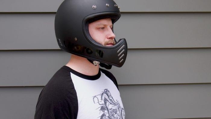 Wade Thiel wearing Bell Moto-3 Helmet front three-quarter, no visor