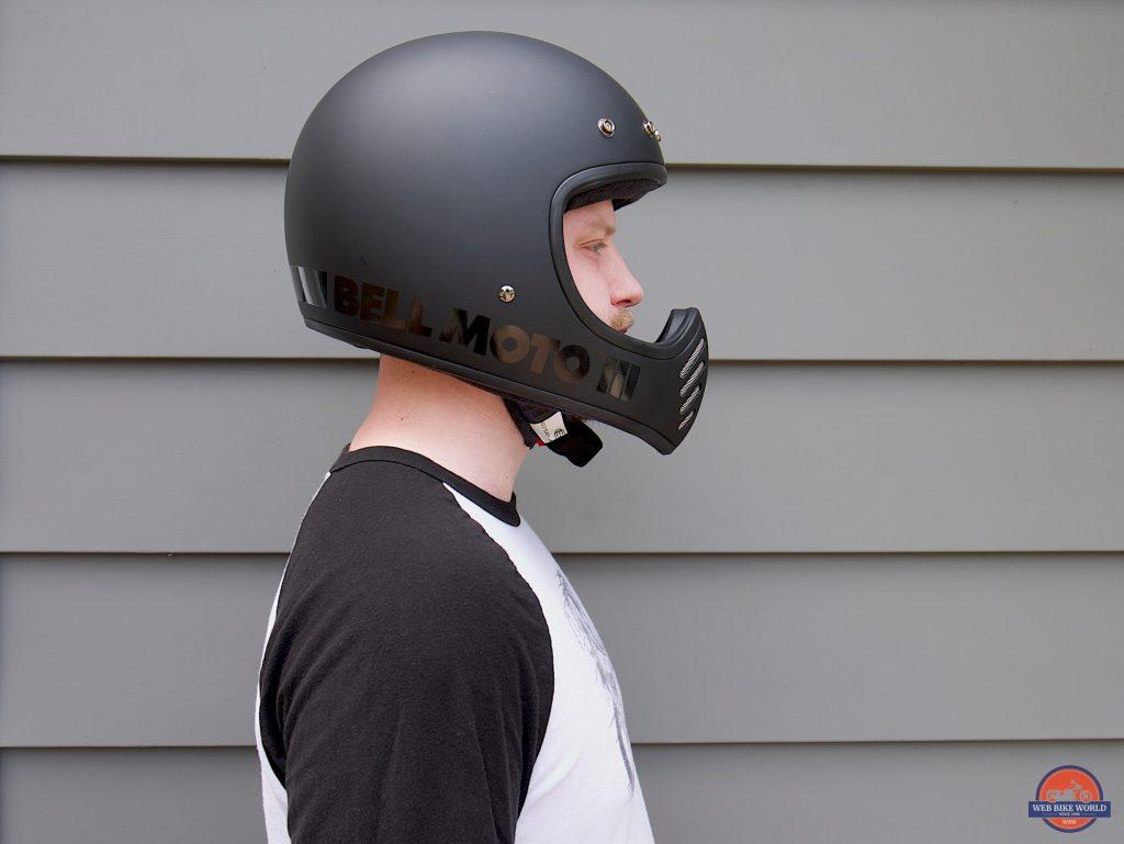 Wade Thiel wearing Bell Moto-3 Helmet side view