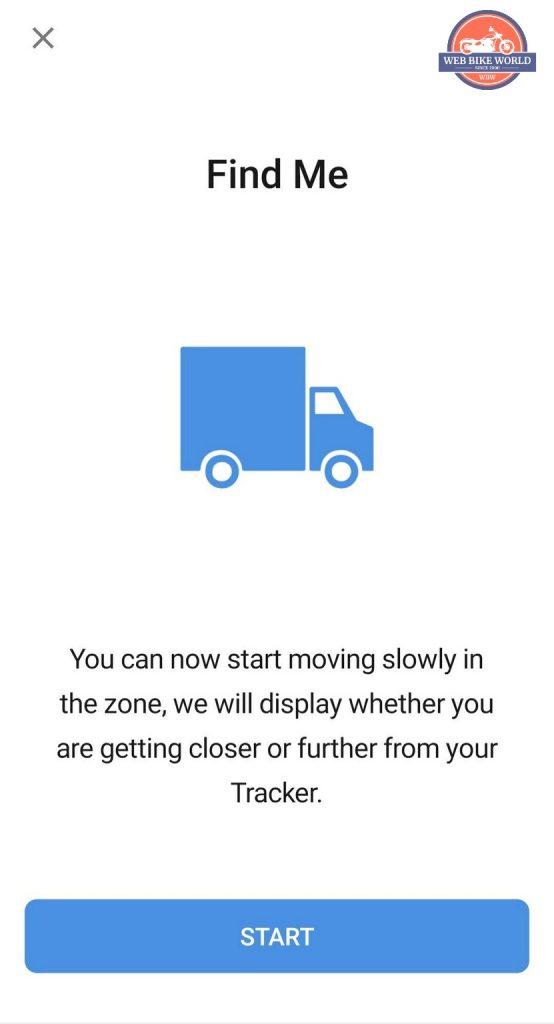 Screenshot of proximity radar prompt to start moving.