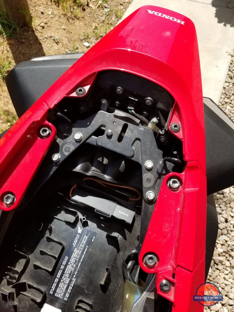 GPS tracker in the tail storage of VFR800