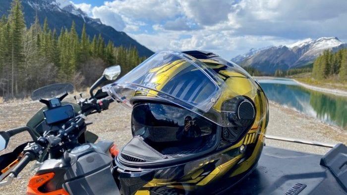 The Shark Spartan GT helmet in Kananaskis Country, Alberta, Canada.