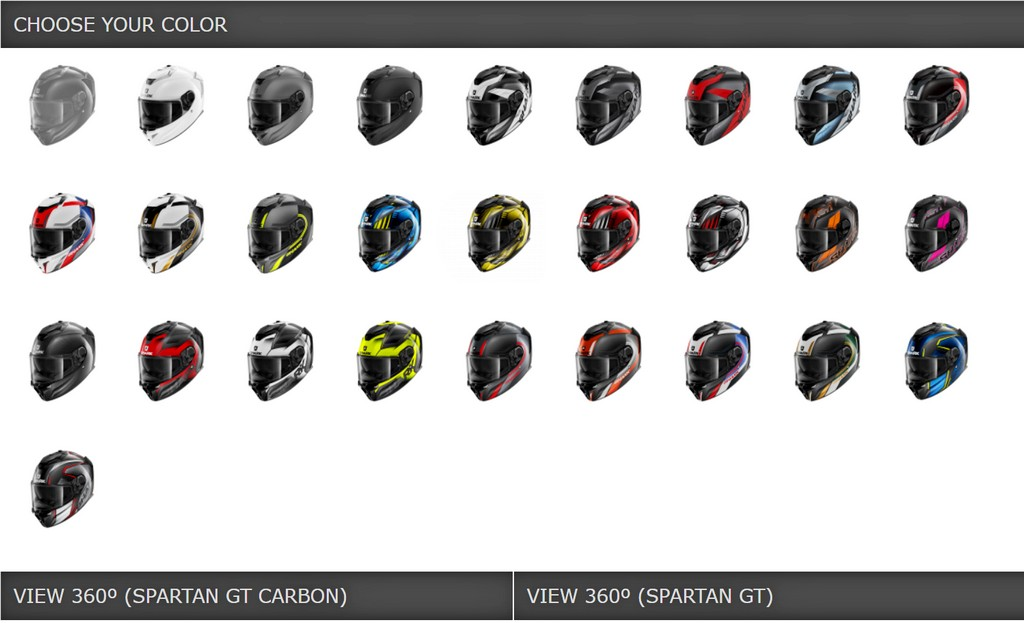 There are many different models of Shark Spartan GT to choose from.