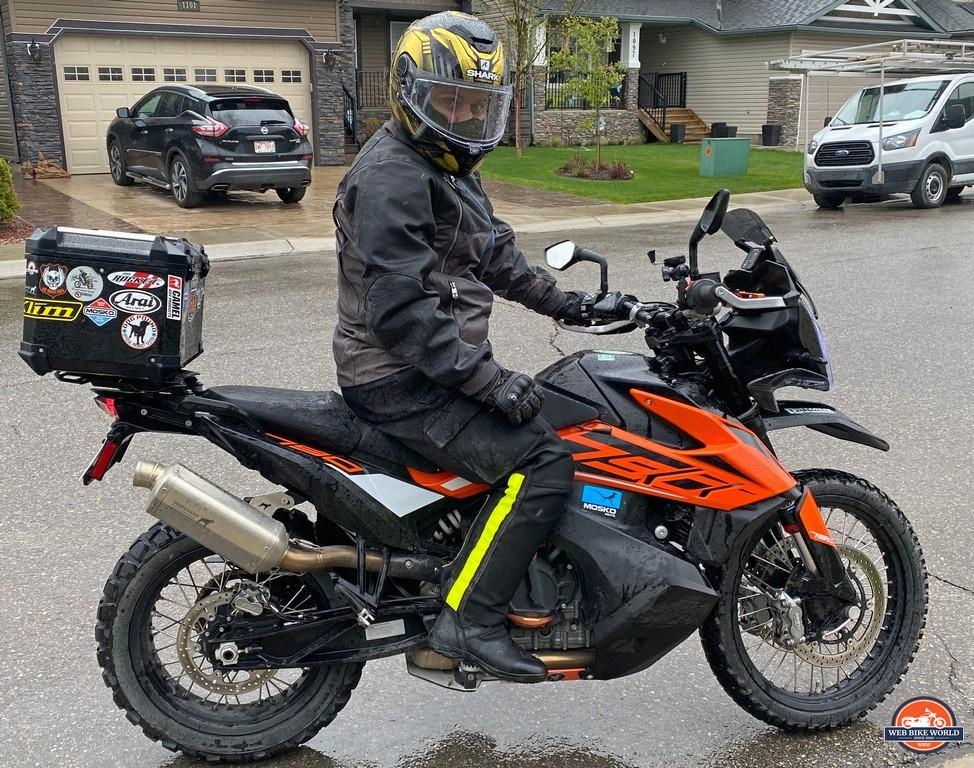 Jim riding a KTM 790 Adventure wearing a Shark Spartan GT Replikan helmet.