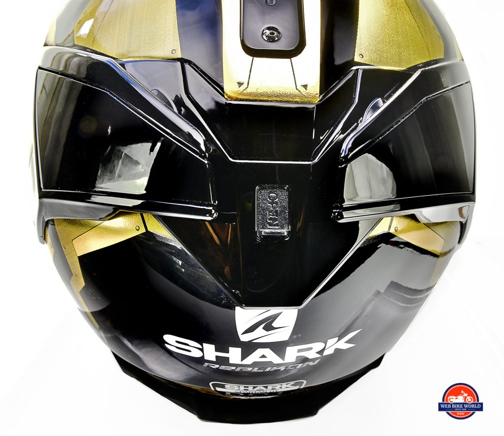 The Shark Spartan GT Replikan rear exhaust vent is labeled open when in the open position.