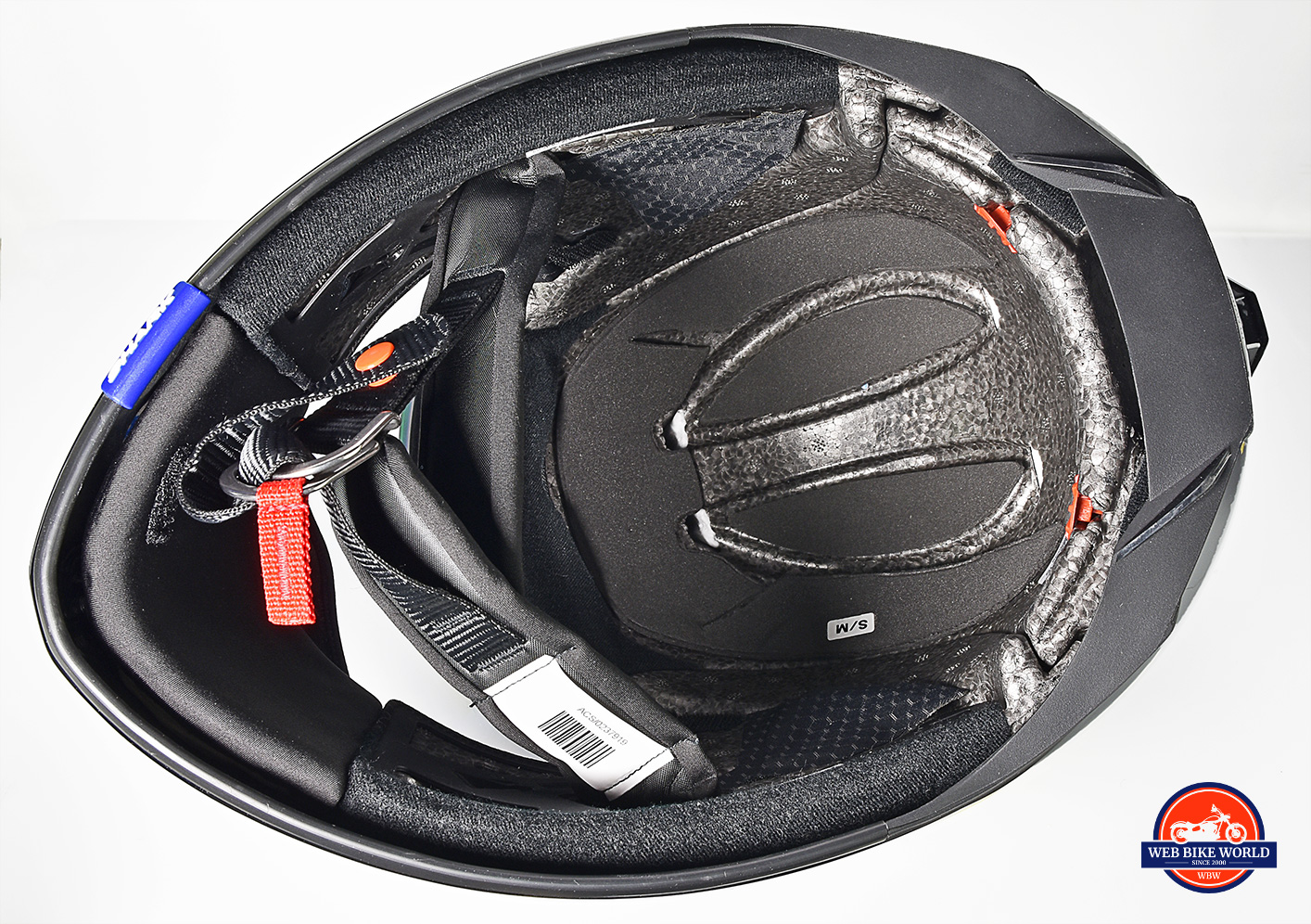 A view of the inside of the Shark Spartan GT Replikan helmet with the comfort liner and cheek pads removed.