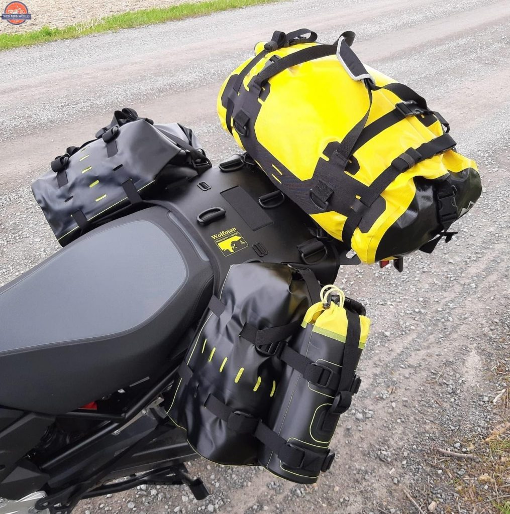 Wolfman Luggage B-Base and Rolie Bags Installed