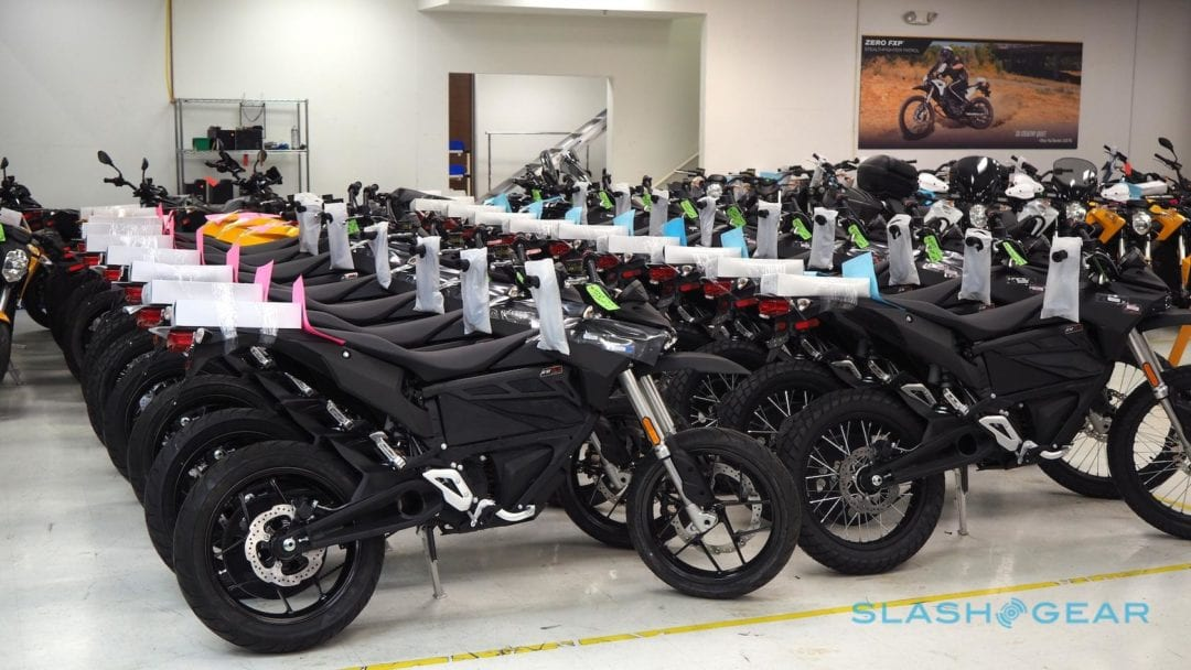 a lineup of zero motorcycles
