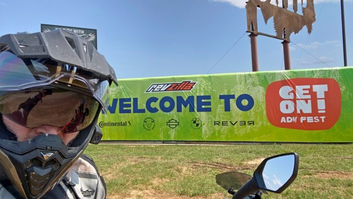 The welcome sign at the Buffalo Chip Campground for GET ON! Adventure Fest 2021.