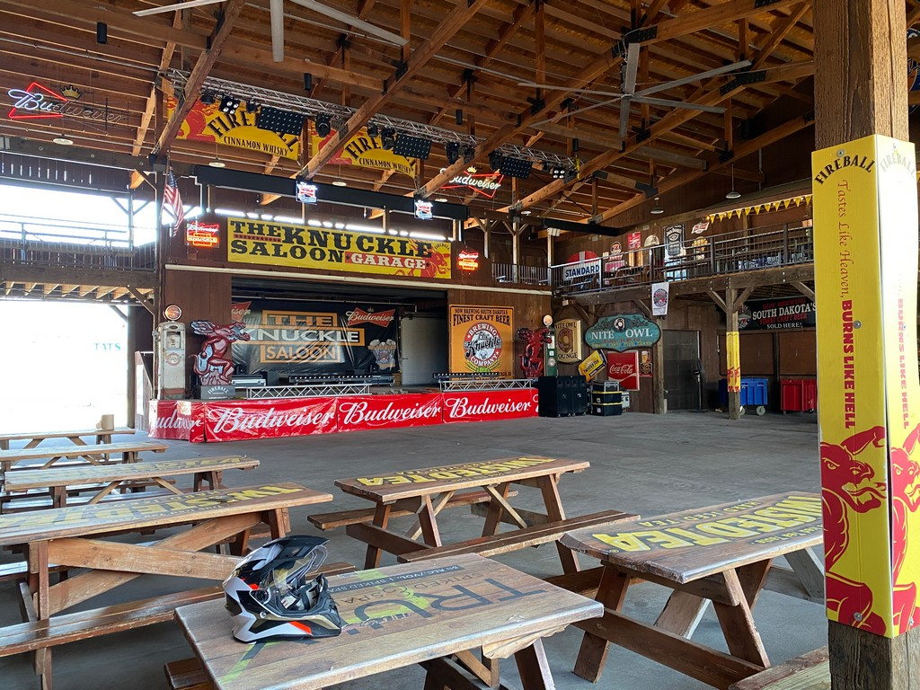 The stage inside the Knuckle Saloon in Sturgis, SD.