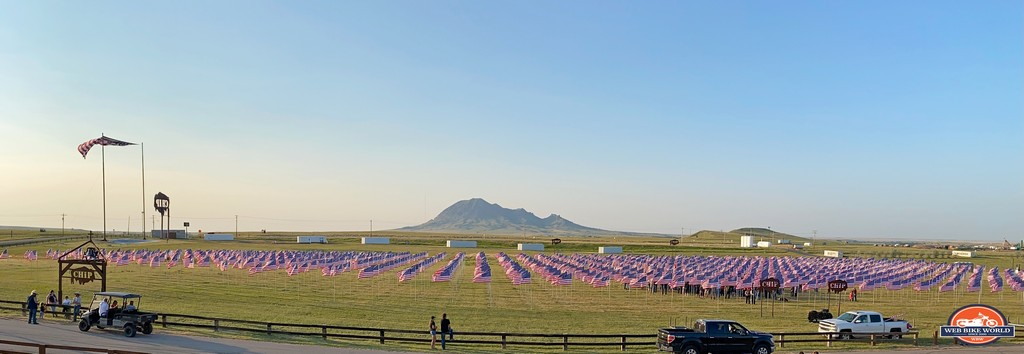 A field of US flags set up at the Buffalo Chip Campground.