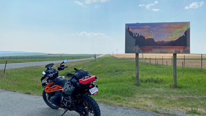 My KTM 790 Adventure at the welcome sign to Montana.
