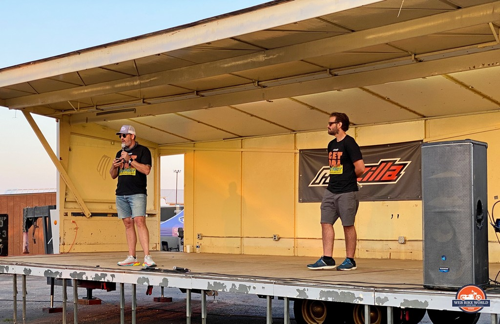 Stevan and Spurgeon address the crowd at the GET ON! Adventure Fest Rally 2021.