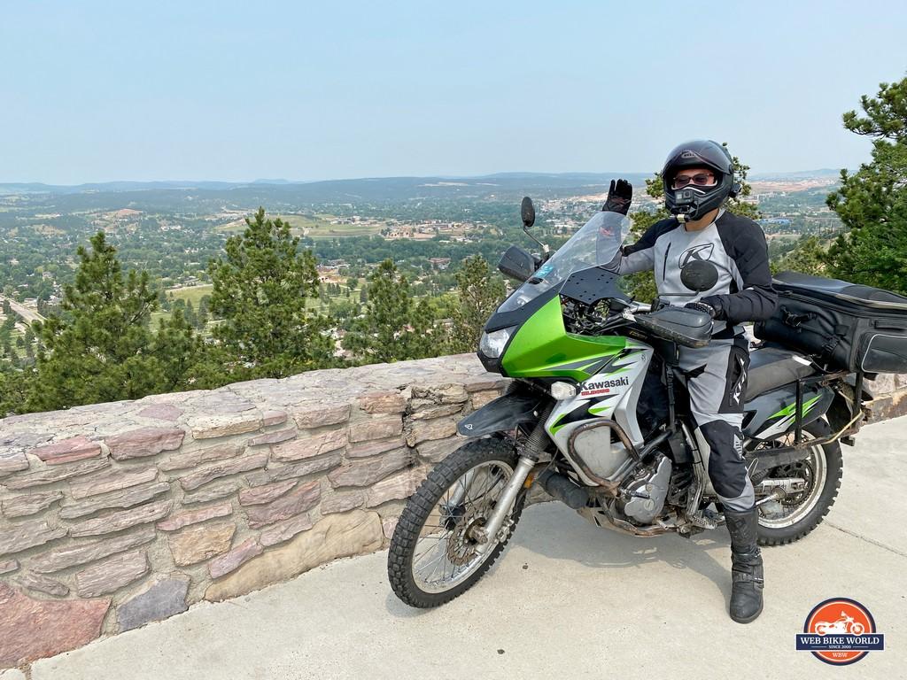 David Moreira with his KLR650 overlooking Rapid City, SD.
