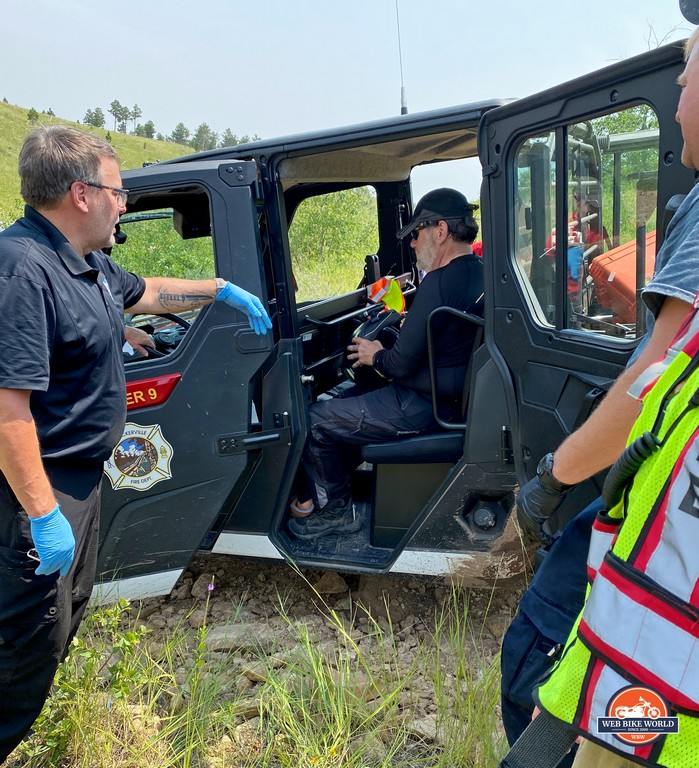 Brian safely loaded into a rescue vehicle out on the trails near Rapid City, SD.