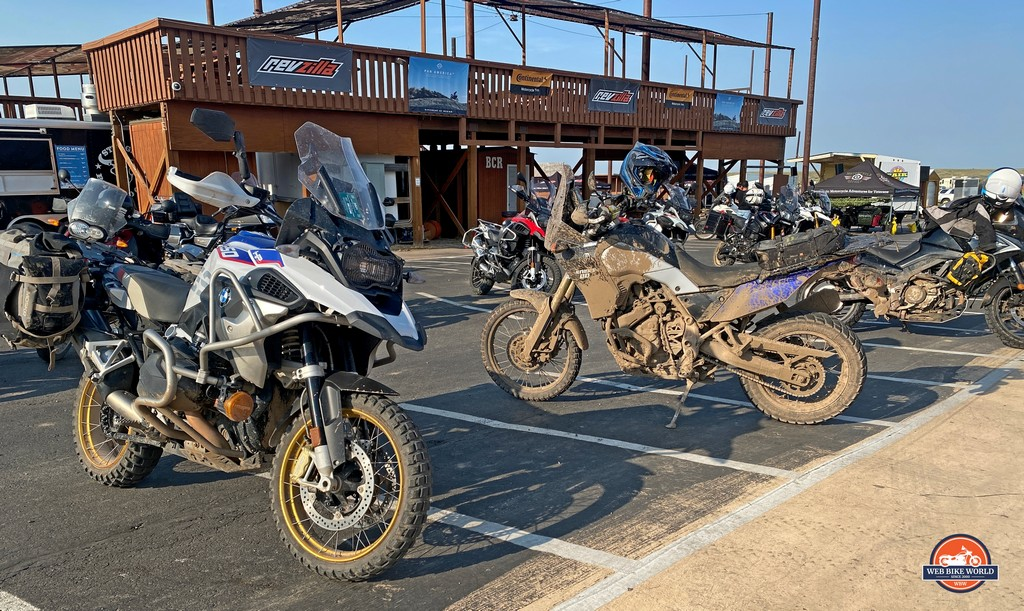 Dirty adventure motorcycles at the GET ON! Adventure Fest rally in 2021.